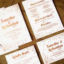 wedding invitations rose celestial rose gold foil wedding invitation by feel good wedding