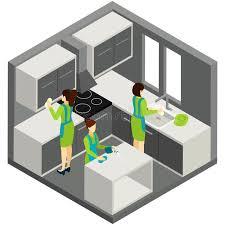 pictogramme cuisine pictogramme isométrique d aide de ménage de nettoyage de cuisine