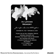 funeral service invitation memorial service announcement orchids 5 x 7 invitation card