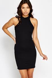halter neck ribbed black halterneck dress just 5