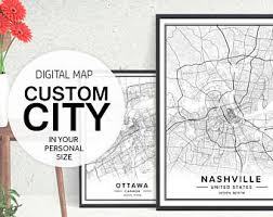 map of cities custom map etsy