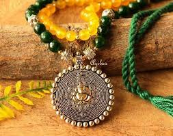 yellow gemstone necklace images Ganesha green yellow gemstone handmade dual beaded necklace set at jpg