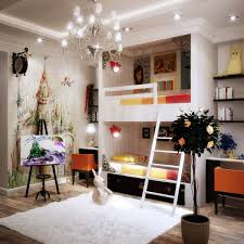 contemporary kids room decorating with gorgeous wall painting