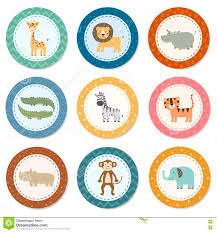 stickers collection with cute safari animals stock vector image
