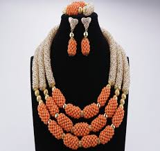 gold orange necklace images 2018 new design african beads jewelry set orange gold beads jpg
