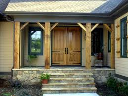 killer small front porch decoration using light brown pine solid