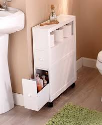 Bathroom Furniture For Small Spaces Slim Bathroom Storage Cabinet Rolling 2 Drawers Open Shelf Space