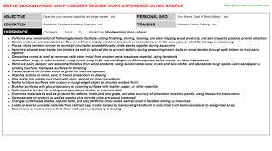 Labourer Resume Template Woodworking Shop Laborer Resume Sample