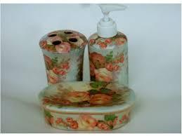 Bathroom Accessories Supplier by Peach Roses Bathroom Accessories 3 Piece Set Peach Bathroom
