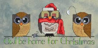 cherry hill stitchery christmas owls cross stitch pattern