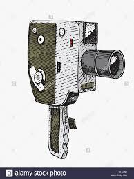 photo movie or film camera vintage engraved hand drawn in sketch