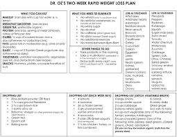 dr oz u0027s rapid weight loss plan one sheet the dr oz show