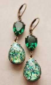 opal earrings necklace images Vintage emerald opal earringsemerald green glass fire jpg