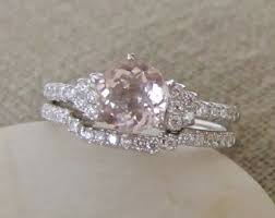 Promise Engagement And Wedding Ring Set by Morganite Bridal Set Etsy