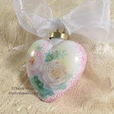 victorian heart porcelain christmas ornament hand painted pink