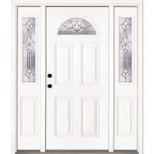 Feather River Exterior Doors Feather River Doors 63 5 In X 81 625 In Medina Zinc Fan Lite