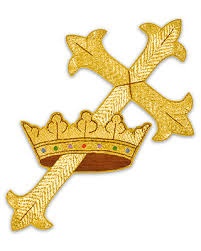 cm almy gold metallic cross and crown applique 815