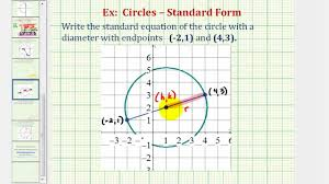ex 1 find standard equation of a circle given the endpoints of a diameter you