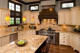 kitchen backsplash ideas with santa cecilia granite chicago types of granite kitchen traditional with blue wall bronze