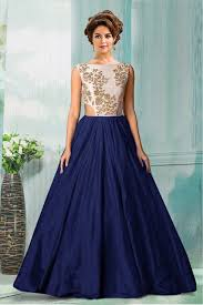 party wear gowns semi stitched party wear gown in navy blue colour