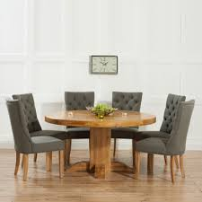 solid oak table with 6 chairs trina solid oak round dining table with 6 albany grey chairs