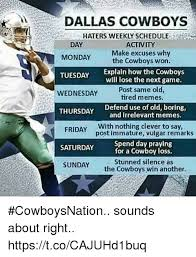 Dallas Cowboy Hater Memes - dallas cowboys haters weekly schedule day monday tuesday wednesday