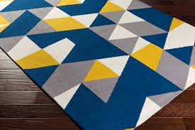 Bright Blue Rug Yellow Gray Area Rug Moroccan Trellis Modern Grayyellow 9 Ft X 12