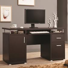 home design unstained teak wood corner laptop desk with several