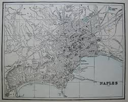 Map Of Naples Italy by Details About Antique Naples Italy Map 1892 Vintage Collectible