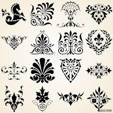 decorative ornaments set of sixteen vintage design elements stock
