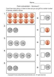 coin money conversion worksheets