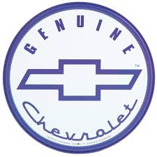 logo chevrolet genuine chevy blue logo round tin sign chevrolet gm automotive