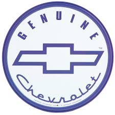 logo chevrolet genuine chevy blue logo round tin sign chevrolet gm automotive