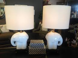 white ceramic elephant lamp