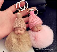 baby keychains sleeping baby doll keychain pompom rabbit fur key chain