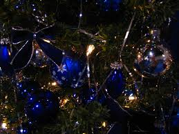 file christmas decorations with blue glass ornaments jpg