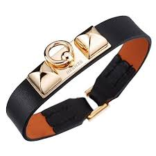 leather bracelet with buckle images Clone 2018 hermes cool micro rivale gold plated buckle black jpg