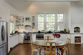 vaulted ceiling dark wood floors under kitchen counter crisp