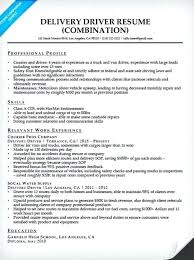 sample resume of driver delivery driver combination resume sample