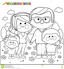happy family at the park coloring book page stock vector image