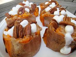 Sweet Potato Recipe For Thanksgiving With Marshmallows Baked Sweet Potato With Marshmallows And Brown Sugar Foodchron