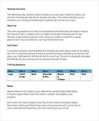 weekly workout schedule templates 5 free word pdf format
