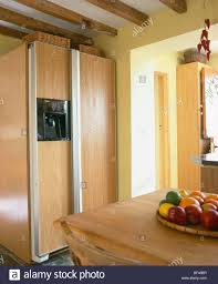 large american style fridge freezer in modern fitted kitchen unit