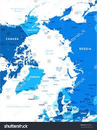 Arctic Ocean Map Arctic Map Detailed Vector Illustration Stock Vector 720858511