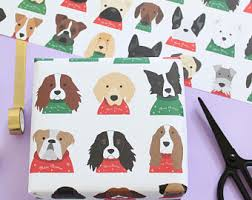 pug christmas wrapping paper pug wrapping paper etsy