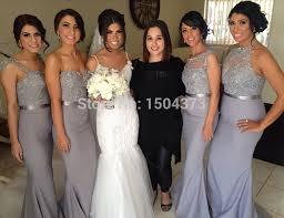 silver bridesmaid dresses 2015 custom make grey chiffon lace beading vestido de