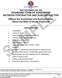 appendix l agc document 655 standard form of agreement between