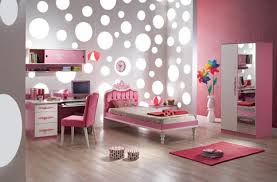 cool kids beroom design with pink mixed white gray polkadot