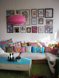 Colorful Shag Rugs Lounge Room Decor Ideas With Colorful Cushions And Wall Arts And