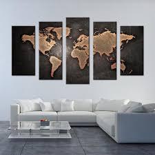 5 Pcs Set Framed Abstract Black World Map Wall Art Modern Global
